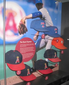 Seven of Nolan Ryan's caps signifying his seven no-hitters in the Baseball Hall of Hame.