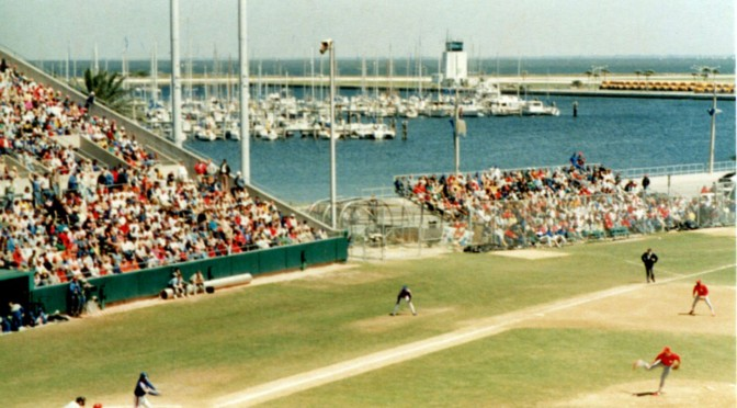 A 1980s Spring Training game at St. Petersburg's Al Lang Stadium