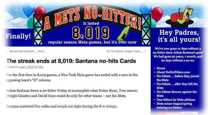 Santana breaks Mets' no-no curse, 4 years ago today