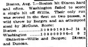 Wire services reports of this game recorded it as a no-hitter, though both the home and away newspaper accounts disagree.