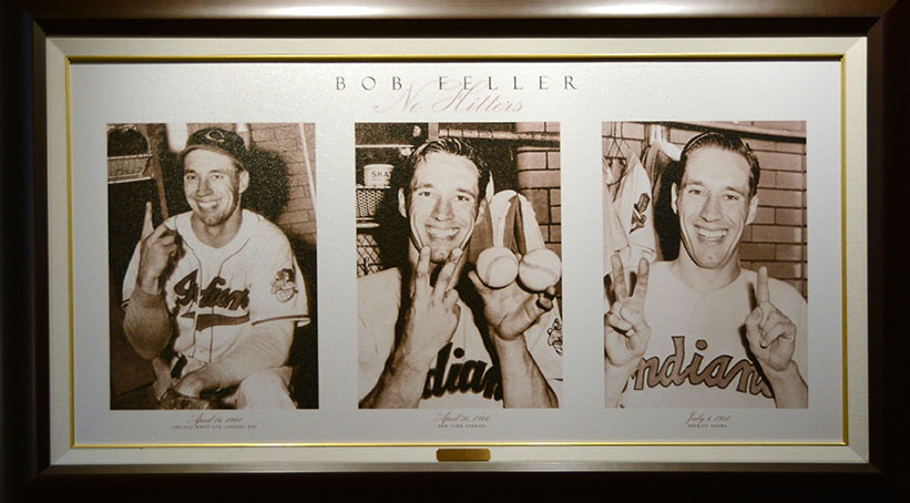 A plaque celebrating Bob Feller's three no-hitters at the Bob Feller Museum in Van Meter, Iowa.