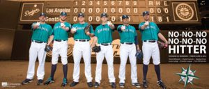 A poster celebrating the Mariners pitchers' accomplishment.